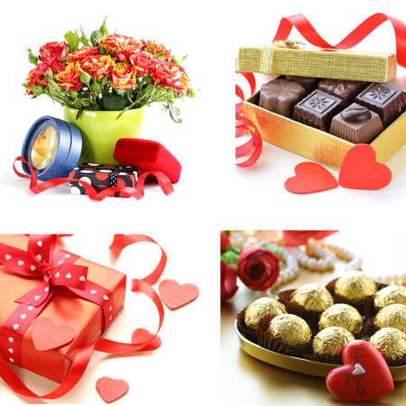 st valentine: collage para el d�a de San Valent�n - flores, corazones, regalos
