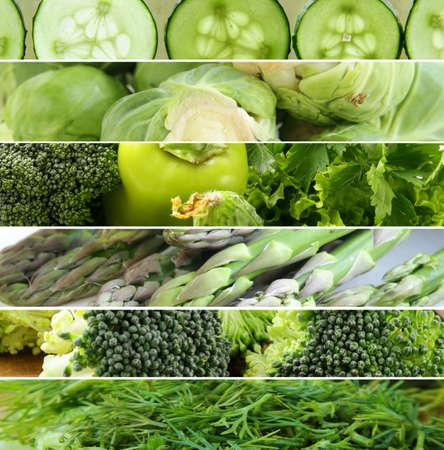 verduras verdes: collage de diferentes verduras (pimientos, espárragos, pepinos, repollo) Foto de archivo