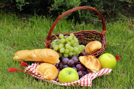 picknick: picnic on green grass with grapes,apples and croissants Stock Photo