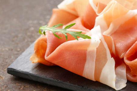 parma ham (jamon) traditional Italian meat specialties Stock Photo