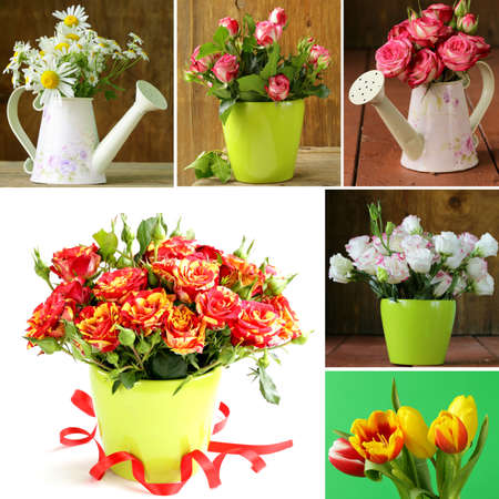 collage of different beautiful festive bouquet of flowers photo