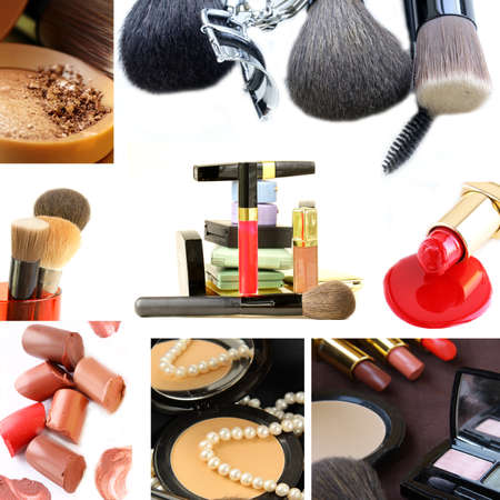 solver: collage collection decorative cosmetics and makeup brushes