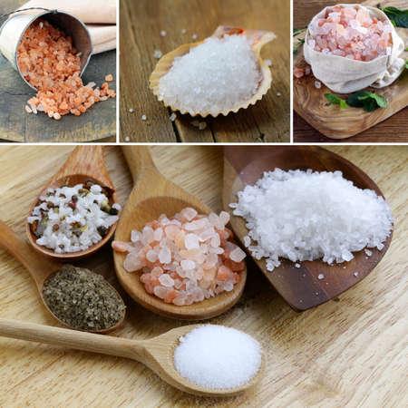 sel: collage assortment variety salt (sea, pink Hawaiian, black)