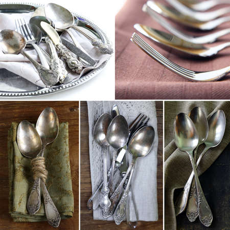 silver cutlery: collage vintage silver cutlery (spoon and fork) with napkin