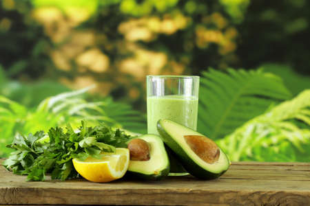 avocados: natural drink smoothie with avocado, herbs and yogurt