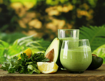 avocado: natural drink smoothie with avocado, herbs and yogurt