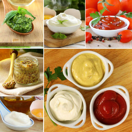 collage: collage of different kinds of sauce mustard ketchup mayonnaise pesto Stock Photo