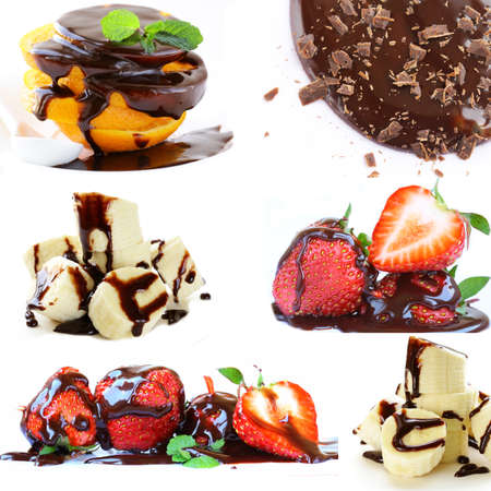 collage of fruits and berries in chocolate sauce photo