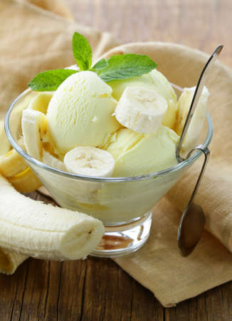 fruit ice cream with fresh banana and mint