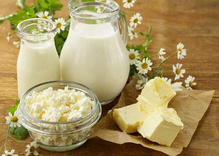 assortment of dairy products milk butter sour cream yogurt rustic still life