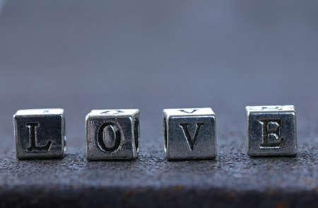 metal letters: the word LOVE written in metal letters