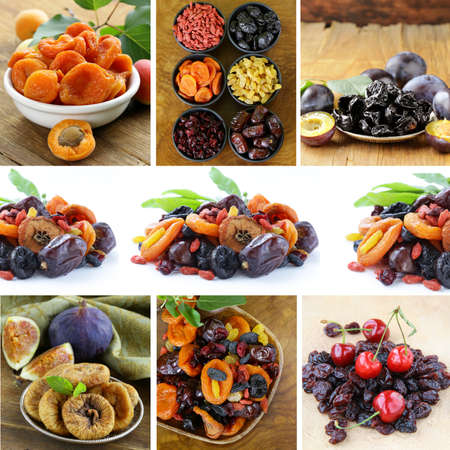 collage assorted dried fruits raisins, apricots, figs, prunes, goji, cherry,cranberries