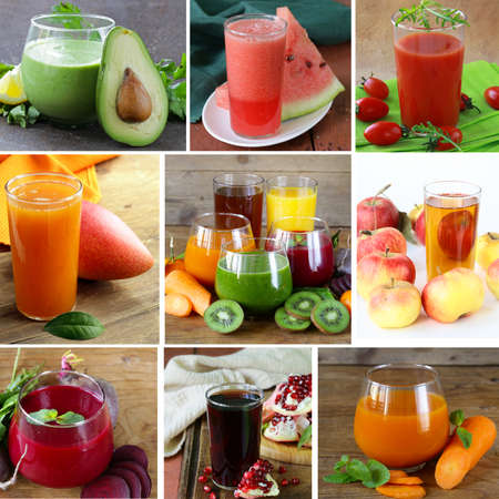 collage assorted fresh juices from fruits and vegetables