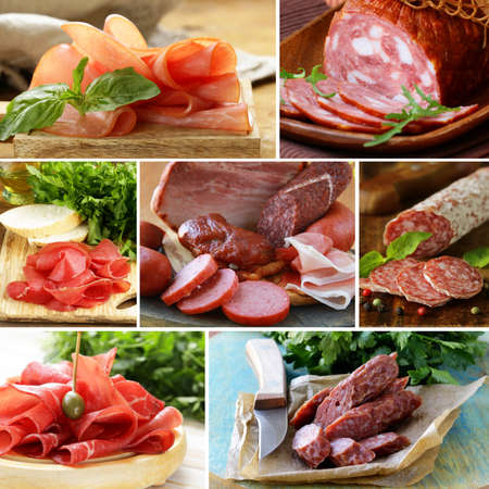 cold meal: collage of assortment of sausage and smoked meat Stock Photo