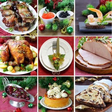 appetizers menu: collage festive Christmas menu turkey, appetizers, cranberry sauce, cake and Stollen