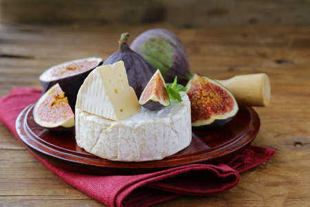 brie: Cheese with white mold Camembert, Brie with fresh figs