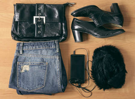 casual fashion: casual fashion set clothes - jeans, shoes, accessories Stock Photo