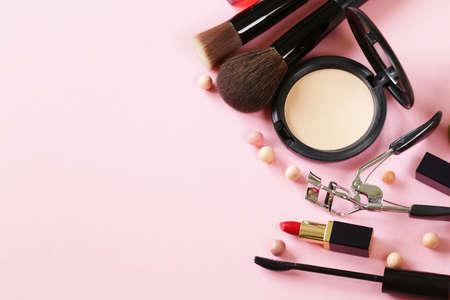 cosmetics set for make-up face powder, lipstick, mascara brush Archivio Fotografico