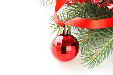 christmas decorations with white background: Christmas white background with fir tree and decorations Stock Photo