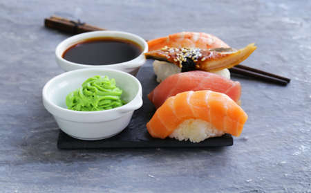 sushi roll: Japanese traditional food sushi with salmon, tuna and shrimp Stock Photo