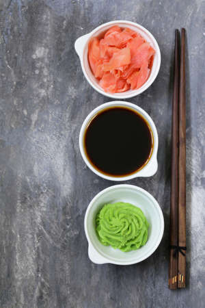 Japanese wasabi sauce, soy sauce and pickled ginger