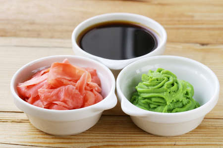 wasabi: Japanese wasabi sauce, soy sauce and pickled ginger