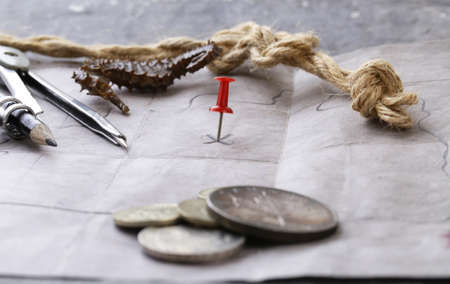 treasure hunt: Vintage map and accessories for the treasure hunt and travel