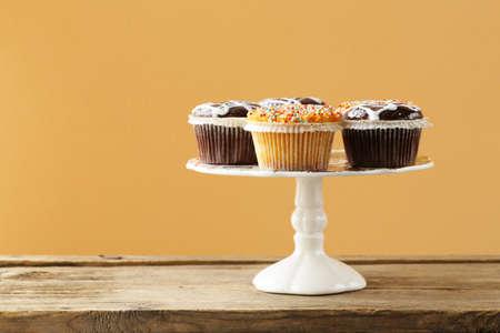 dessert buffet: dessert buffet muffins on a wooden table