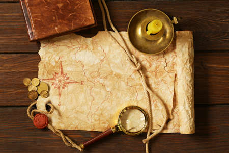 treasure: Vintage map and accessories for the treasure hunt and travel