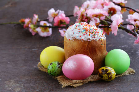 easter cookie: Easter symbol painted colorful eggs and panettone