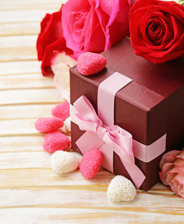 st  valentine: Rose flowers, hearts, and holiday gifts for St. Valentine Day