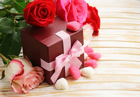 st  valentine: Rose flowers, hearts and holiday gifts for St. Valentine Day