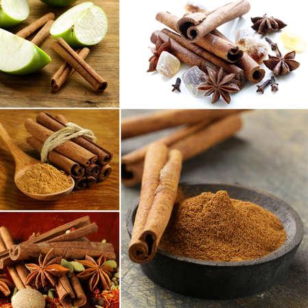 cinnamon sticks: collage of spice cinnamon sticks and ground cinnamon Stock Photo