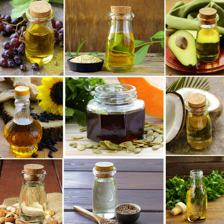 collage of natural organic oils from nuts and seeds, avocados, grapes and coconut Stock Photo