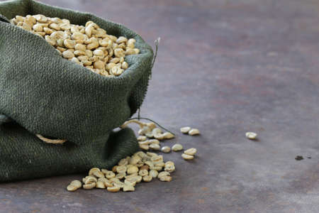 antioxidant: green coffee beans in a bag, antioxidant and healthy food