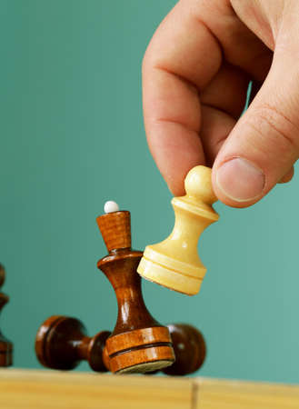 preferment: chess position - pawn standing in a position of checkmate Stock Photo