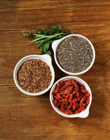 maca: Super food - goji berries, chia seeds, flax seeds Stock Photo