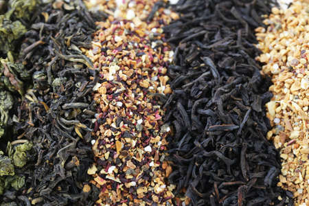 varieties: different varieties of dry tea (black, white, green) Stock Photo