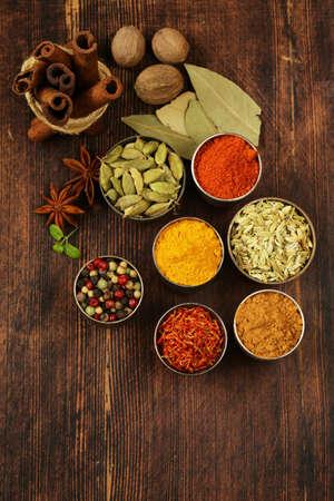 nutmeg: variety of spices (saffron, paprika, pepper, fennel, cinnamon, turmeric, nutmeg)