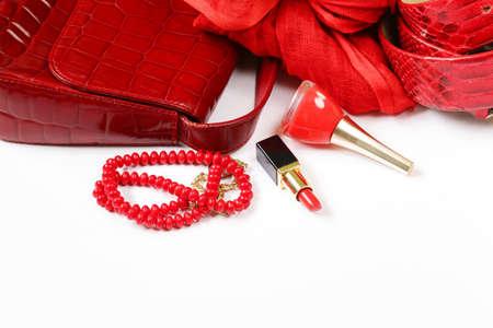 accesorios de moda para las mujeres - bolso, pañuelo, cinturón y joyas Foto de archivo