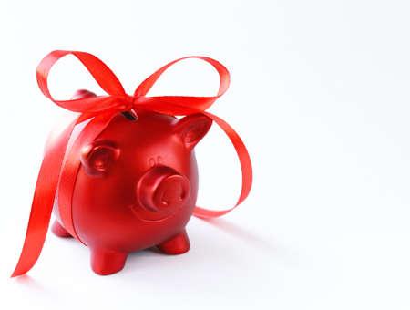 money box: money box red piggy bank with gift ribbon