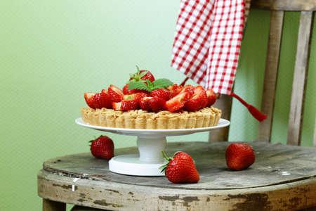 shortcake: pie shortcake dough with fresh berries strawberries