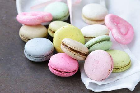 ganache: multicolored French almond cookies macaroons romantic dessert Stock Photo
