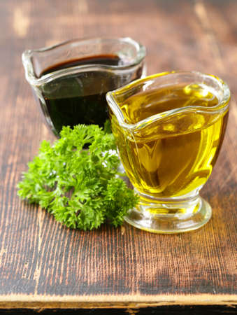 balsamic: olive oil and balsamic vinegar in a glass gravy boat Stock Photo