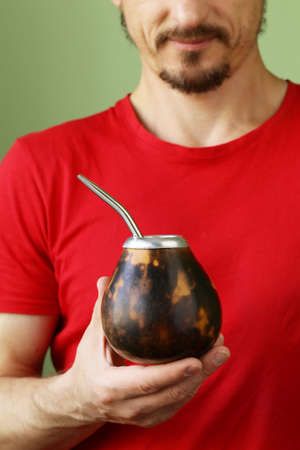 mate: Traditional yerba mate tea in calabash mug and bombilla