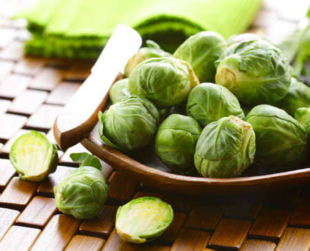 brussel: organic green brussel sprouts