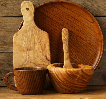empty wooden food bowls domestic utensil Stock Photo