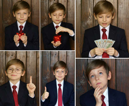 show bill: collage set boy in a suit - business concept
