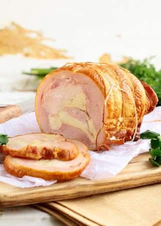 filled roll: baked pork roll filled with herbs and spices