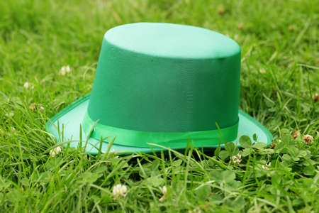 irish culture: traditional symbols for Patricks Day - green hat, clover